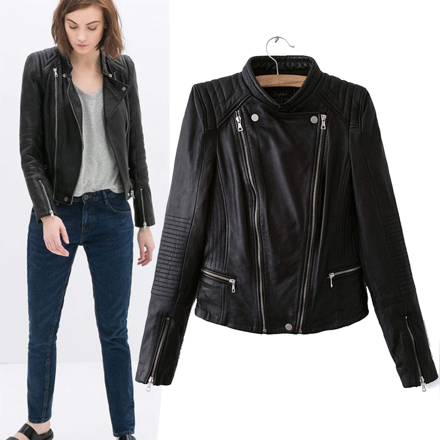 Fashion College Style DoubleZip Leather Jacket,Round Collar MultiZip Biker Jacket Ideal for Ladies Girls Casual Outwear,Black