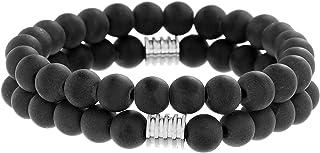 """Steve Madden 8"""" Stainless Steel Black Beaded Duo Stretch Bracelet Set for Men"""