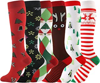 Ultrafun 6 Pairs Women & Men Compression Socks Knee High Mdecial Circulation Sports Compression Stocking for Athletic, Cyc...