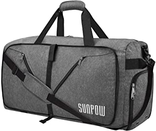 65L Travel Duffel Bag, Weekender Bag With Shoes Compartment Tear Resistant Foldable Duffle Bag For Men Women Dark Grey