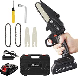 """MSD Cordless Mini Chainsaw, Upgraded 4"""" One-Hand Handheld Electric Portable Chainsaw, 21V Rechargeable Battery Operated, for Tree Trimming and Branch Wood Cutting (one battery)"""