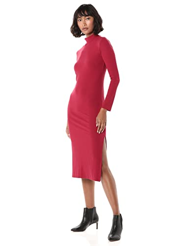 The Drop Women's Alyssa Long Sleeve Funnel Neck Ribbed Midi Body Con Dress