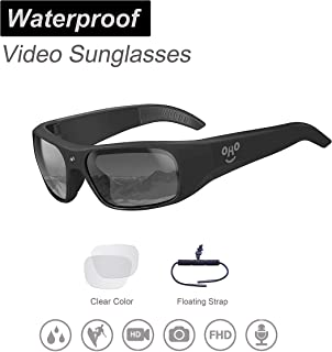 OhO sunshine Waterproof Video Sunglasses, 1080P Full HD Video Recording Camera with 32GB Built-in Memory and Polarized UV400 Protection Safety Lenses,Unisex Sport Design …