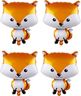 4Pcs Woodland Animals Balloons Huge Fox Foil Balloons for Baby Shower Birthday Woodland Jungle Forest Theme Party Decorati...