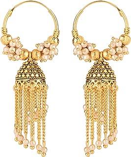 Efulgenz Boho Vintage Antique Ethnic Gypsy Tribal Indian Oxidized Gold Pearl Tassel Hoop Jhumka Dangle Earrings Jewelry