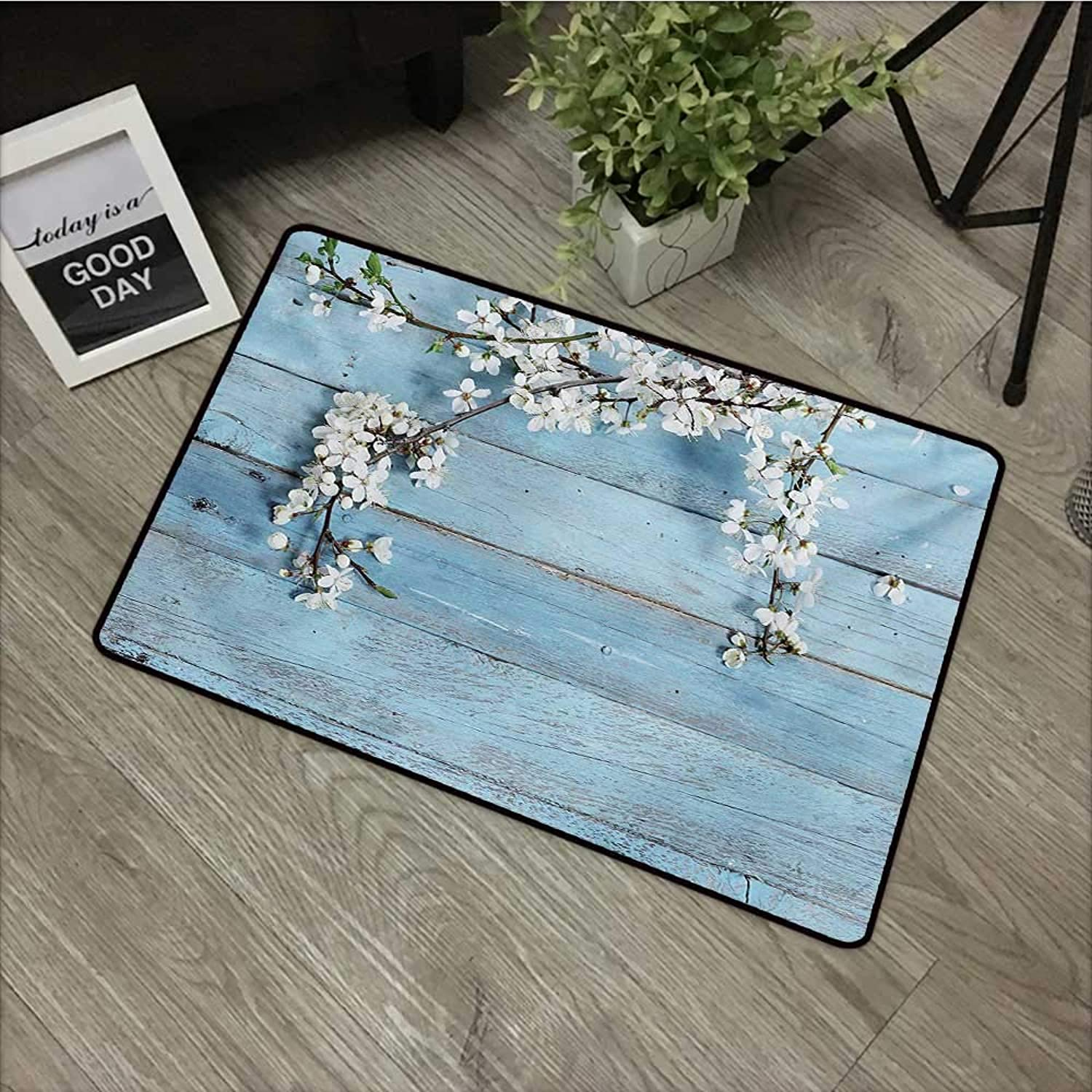 Bathroom Door mat W35 x L59 INCH Rustic,A Branch with Blooming Spring Flowers on Wooden Fragility Symbol of Spring,White Pale bluee Non-Slip, with Non-Slip Backing,Non-Slip Door Mat Carpet