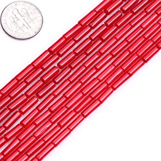 3x7mm Column Tube Red Coral Beads Loose Gemstone Beads for Jewelry Making Strand 15 Inch (57pcs)