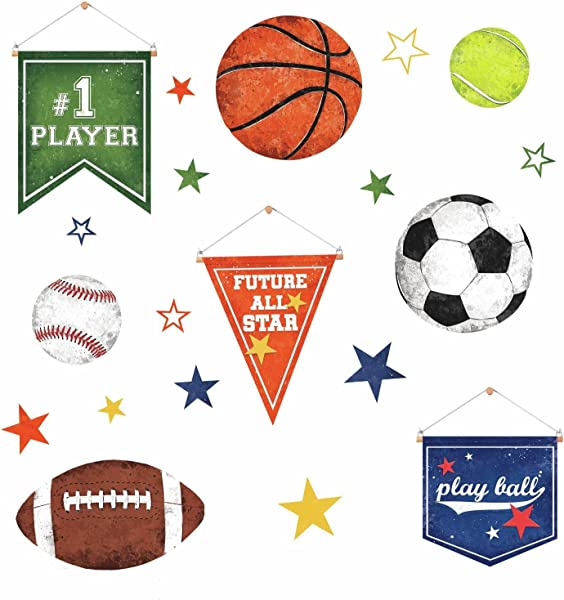 RoomMates RMK3710SCS Sports Balls Peel Stick Wall Decals Multicolor