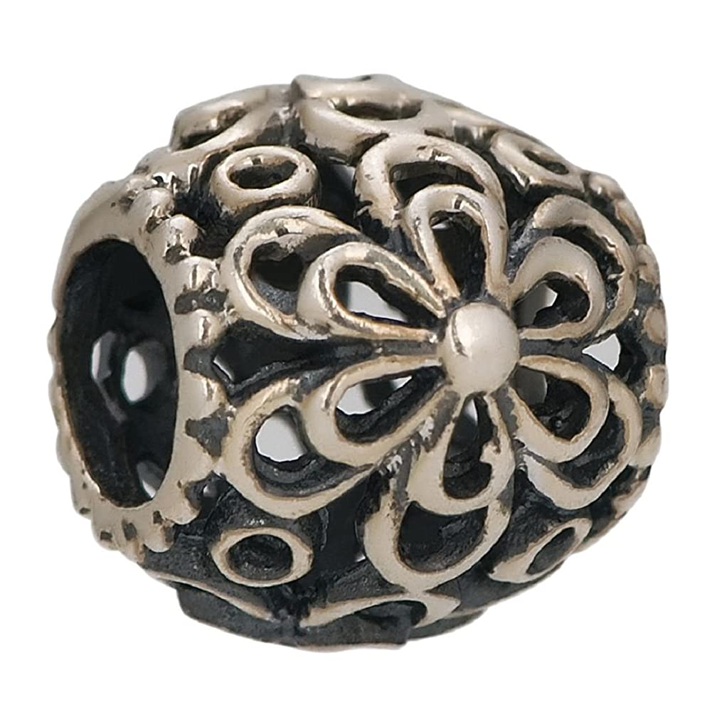 Flower Daisies Floral 925 Sterling Silver Charm Bead Fits European Charms