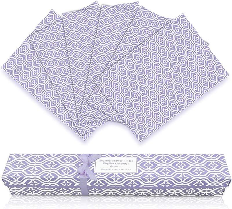 LA BELLEF E Scented Drawer Liners 6 Sheets Scent Paper Liner English Lavender