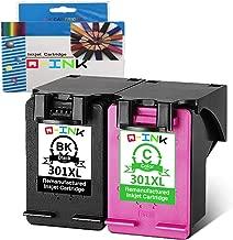 QINK 2PK 301 Remanufacturado para 301XL Cartucho de Tinta CH563EE CH564EE Mostrar Nivel de Tinta preciso para Deskjet 3050 2050 3055A 1050A, Envy 4500 4504 5530 5536, Officejet 2620 4634
