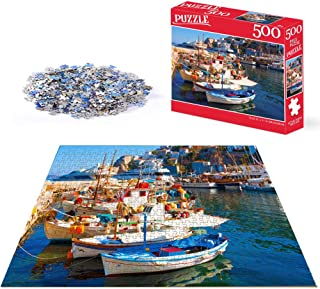 Beach Puzzles for Adults 500 Piece Jigsaw Puzzles 500 Pieces for Adults Kids Teens Jigsaw Puzzle Game Toys Gift thera Santorini Boat Harbour