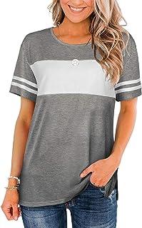 Womens Tshirts Short Sleeve Summer Tops Color Block Side...