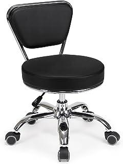 """MAYAKOBA Dayton Garage Rolling Seat (Black) Pneumatic, Short Stool with Adjustable Height 13""""-15"""", Perfect for Garage Task..."""