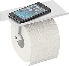 Allstar Walli Toiletpapierhouder voor aan de muur, mat wit, met plank, staal, 18 x 9,5 x 7,5 cm, wit