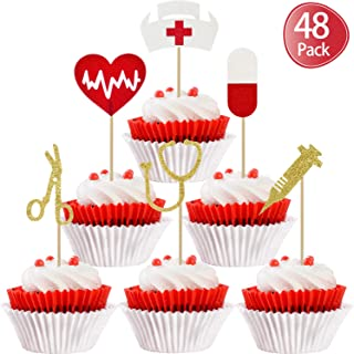 48 Pieces Nursing Cupcake Toppers Nurse Graduation Cupcake Toppers Rn Themed Cake Picks for Nurse Themed Party Cake Decoration