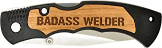 Personalized Gifts Welder Gift for Dad Badass Laser Engraved Stainless Steel Folding Pocket Knife