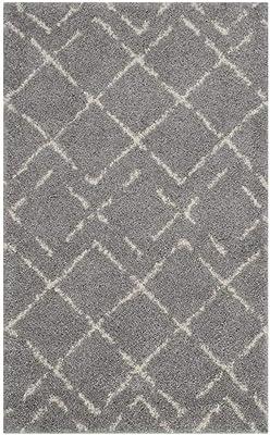 Safavieh Arizona Shag Collection ASG743D Southwestern Diamond Geometric Grey and Ivory Area Rug, 9' x 12'