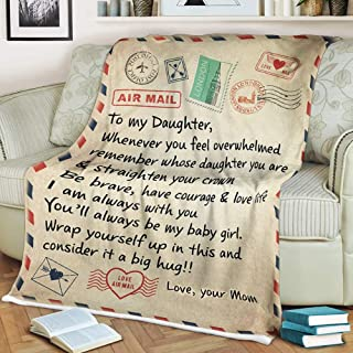 WINGSIGHT Letter Throw Blankets Mom to My Daughter Super Soft Warm Large Flannel Blanket Suitable for Birthday and Anniver...