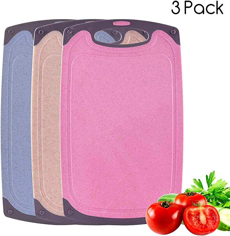 Cutting Boards Set 3 Pieces Plastic Chopping Board BPA Free Large And Thick Kitchen Cutting Board With Non Slip Feet And Juice Grooves Dishwasher Safe Pink Blue Beige