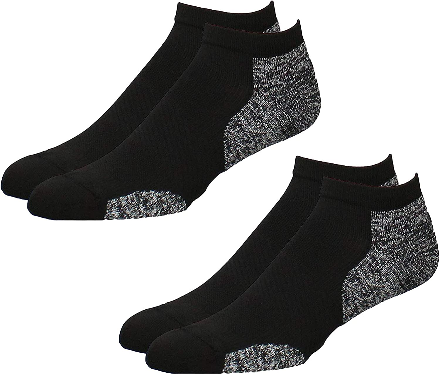 TCK Men's Plantar Fasciitis No Show Running Socks with Arch Support 2 Pack - Made from Recycled Materials