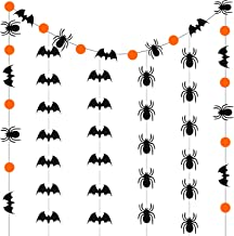 3 Pieces Glittery Bat and Spider Banner Garland Sign Bat and Spider Shaped Party Banner for Halloween Party Decor Haunted ...