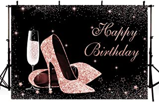 MEHOFOND Glitter Rose Gold and Black Photo Background Props Sparkle High Heels Champagne Adult Woman Sweet 16 Happy Birthd...