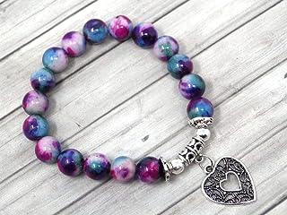 Bracciale da donna in giada con perle colorate in viola blu e bianco con pendente in filigrana a forma di cuore