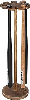 MyGift Rustic Wood Freestanding Baseball Bat Display Rack, Holds 9 Bats