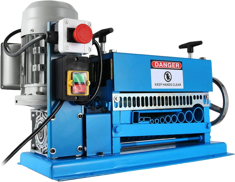 VEVOR Máquina Automática de Pelado de Cables 370 W 1,5-38 mm Máquina Peladora de Cables con 11 Canales y 10 Cuchillas 15 m/min Pelacables Eléctricos de Metal con Mango Ajustable Estructura Metálica