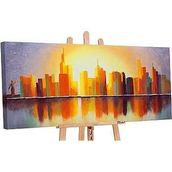 Ys Art Tableau Peinture Acrylique Ville Ensoleillee Peint A La Main 115x50cm Tableau Peinture Sur Toile Unique Orange Amazon Fr Cuisine Maison