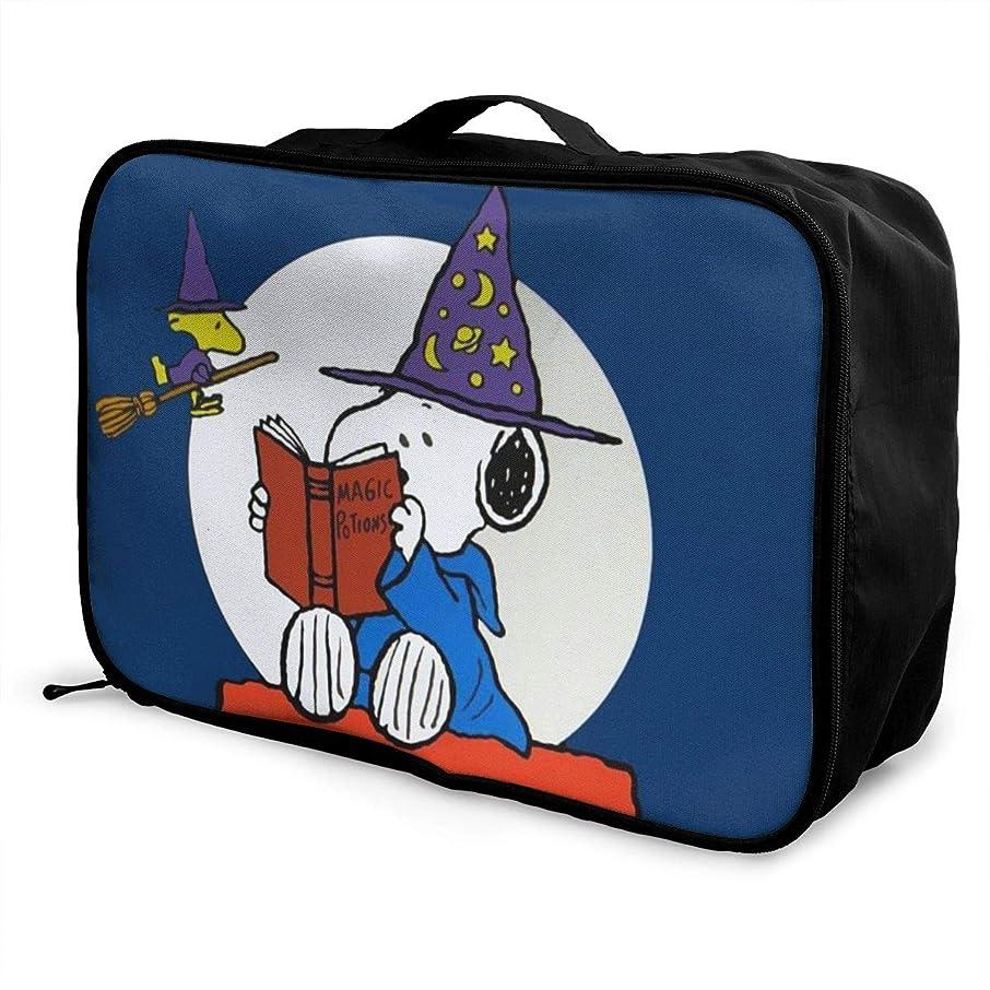 寛容な大工不利ボストンバッグ スヌーピー キャリーオンバッグ トラベルバッグ 大容量 厚手 丈夫 荷物 折りたたみ スーツケース固定可 旅行 出張 男女兼用 かわいい おしゃれ