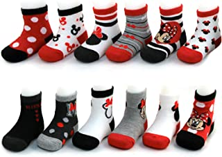 Baby Girl Socks- Assorted Minnie Mouse Designs 12 Pack Baby Socks Variety Set, Age 0-24 Months