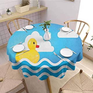 Luoiaax Rubber Duck Waterproof Anti Wrinkle no Pollution Yellow Cute Childrens Toy Figure on Wavy Water Inspired Stripes Clouds Round Tablecloth D67 Inch Round Yellow White Blue