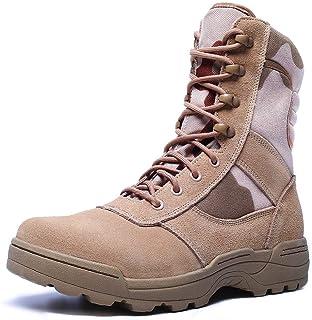 Botas de Combate Militar con Cremallera Lateral, Botas de Combate de Desierto para Hombres,Botas Jungle Combat, Zapatos de...