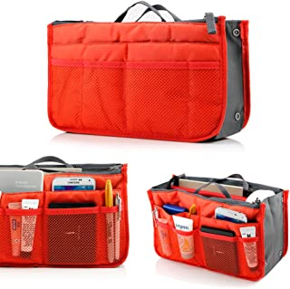 GEARONIC TM Lady Women Travel Insert Organizer Compartment Bag Handbag Purse Large Liner Tidy Bag- Orange