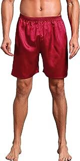 Mens Satin Boxer Shorts Silk Pajamas Shorts Sleepwear Boxers Underwear Beach Shorts