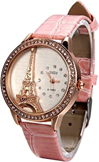 JewelryWe Mother Day Gift Bling Rhinestone Accented Eiffel Tower Pink Leather Watch Ladies Women Watches