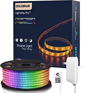 Maxonar LED Strip Lights Works with Alexa (16.4Ft / 5M) WiFi Wireless Light Strips RGB Multicolor Waterproof IP65 Smart Phone Controlled DIY Kit Works with Amazon Echo Google Home