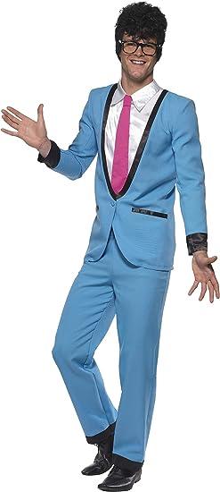 Smiffys-39963XL Jack Disfraz de Teddy Boy, con Pantalones, Chaqueta con Camisa postiza y Corbata, Color Azul, XL-Tamaño 46