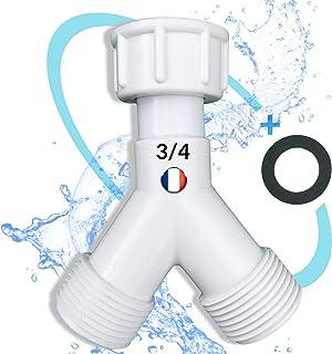 BYMEO/Robinet Double Machine a laver/Raccord Y Pour Robinet Extérieur/Lave Linge/Adaptateur Tuyau d'Arrosage/Embout 3/4 di...