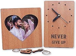 Nemora Wooden Desk Clock, Photo Frame & Key Chain |Combo Gift |Full Wood, Peach Finish