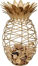 BarCraft Wine Cork Collector, Pineapple Shaped, Metal, Gold Coloured, 20 x 28cm