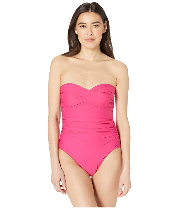Athena Solid Twist Bandeau One-Piece (Rose) Women