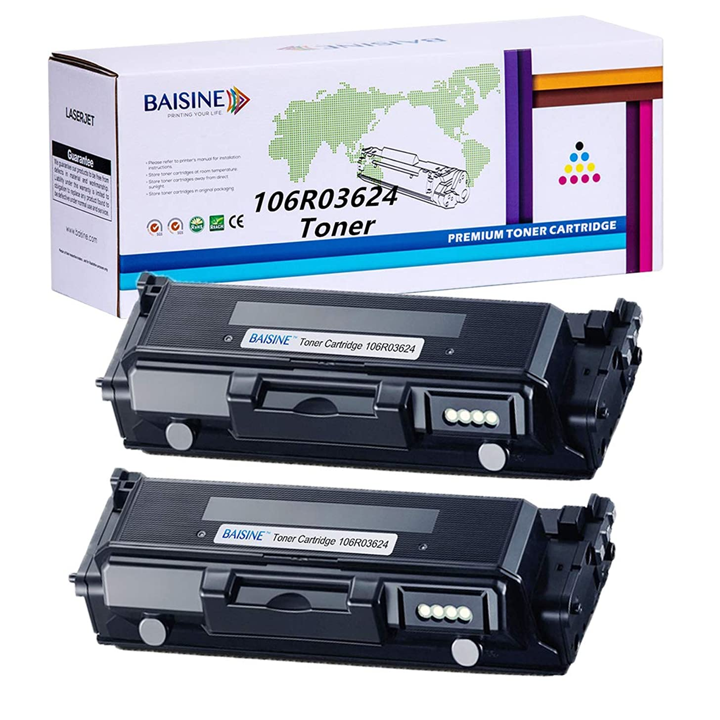 WorkCentre 3335 Toner, BAISINE 2-Pack Compatible 106R03624 Toner Cartridges Replacement for Xerox WorkCentre 3335, WorkCentre 3345, Phaser 3330 Toner – High Yield 15,000 Pages