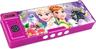 Funny Teddy Password Protect Pencil Box with Compass and Sharpener - Dual Side | Multi Purpose | (Froze Princess)