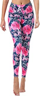 Mint Lilac Women's High Waist Workout Printed Yoga Leggings Athletic Tummy Control Running Pants