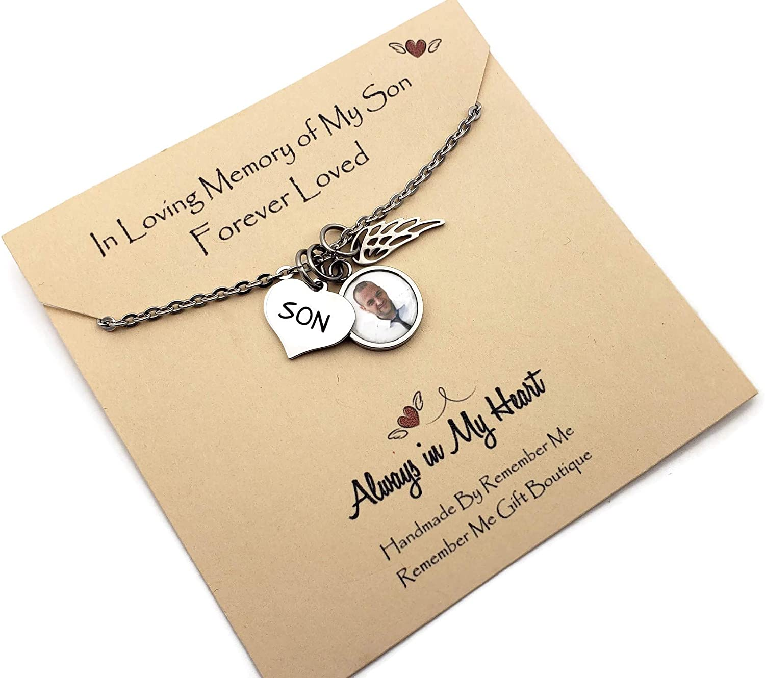 Loss of Son Memorial Gifts, In Memory of Loved One, Bereavement Memorial Jewelry, Funeral Gift Instead of Flowers, In Loving Memory Memorial Necklace, Photo Picture Pendant, Angel Wing Charm
