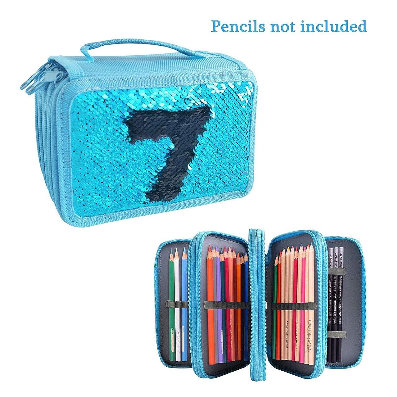 Flip SparkleBlue Sequin 72 Slots Pencil Case Holder 4 Layers Colored Pen Organizer Bag Cosmetic Brush Pouch
