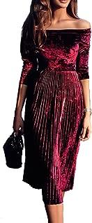 Womens Off Shoulder Boat Neck 3/4 Sleeve Empire Pleated Velvet A-line Midi Dress
